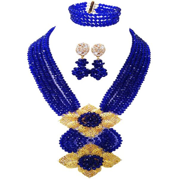 Widely Popular Royal Blue Engagement Beads Necklace Women Crystal Jewelry Sets 6C-HL-31