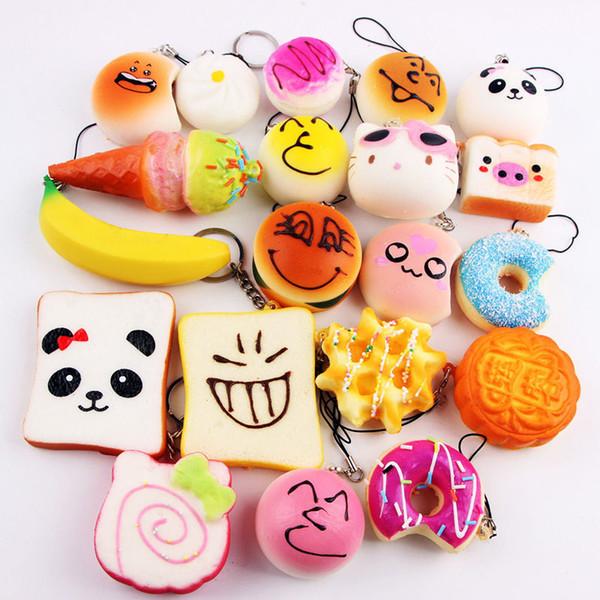 10pcs / lot Kawaii Squishies Brötchen-Toast-Donut-Brot für Handy Beutel-Charme-Bügel Großverkauf mischte seltenes Squishy langsames steigendes Abzugsleine duftend