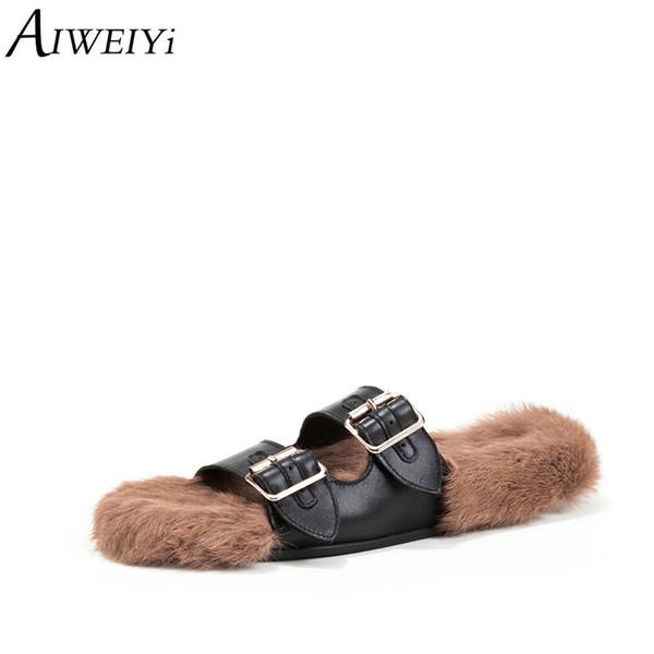 AIWEIYi Pelzhausschuhe Aus Echtem Leder Flip Flops Schnalle Design Slip On Winter Hausschuhe Freizeitschuhe Frau