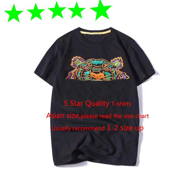 Sommer-Designer-T-Shirts Herren-Oberteile Tiger-Kopf-Brief-Stickerei-T-Shirt der Männer Kleidung Marken-Kurzschluss-Hülsen-Shirt-Frauen 5 Sterne Tops S-2XL