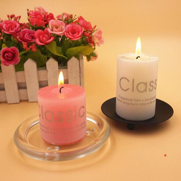 Cylindrical Candle Transparent Plate Round Iron Art Candle Holder Candle Glass Tray European Style Wholesale ZC0682