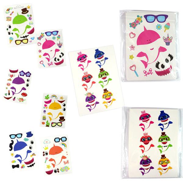 24 pçs / lote Bebê Tubarão Etiqueta Jogo Party Boy Girl Paster Diy Dos Desenhos Animados Brinquedo Decoração dos desenhos animados Padrões crianças room decor adesivos de carro FFA2119