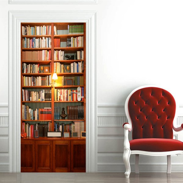 New Vintage book cabinet Door wall Sticker Graphic Unique Mural Cosplay Gifts for living room home decoration Creative Pvc Decal paper WN644