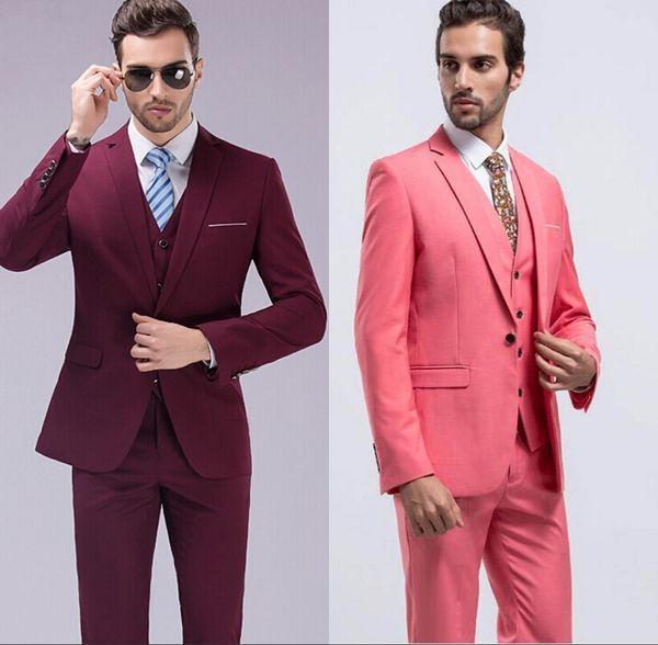 Custom Made Red Slim Fit Groom Tuxedos Notch Lapel Center Vent Groomsmen Mens Wedding Dresses Excellent Man Suit(Jacket+Pants+Vest)