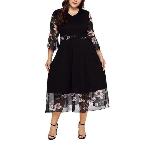 Hot Sale Casual 2018 Fashion Women Midi Dresses O Neck Wrap Chiffon Floral Long Sleeve Dresses Vestido Plus Size XL-5XL