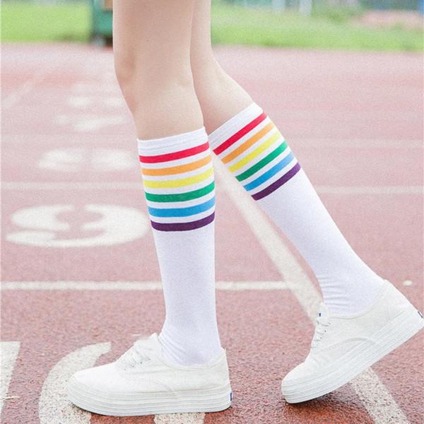 WOMAIL 1Pair бедро высокие носки Более колена радуги нашивки девушки Носки Черный Белый белый длинный носок для детей девочек N14