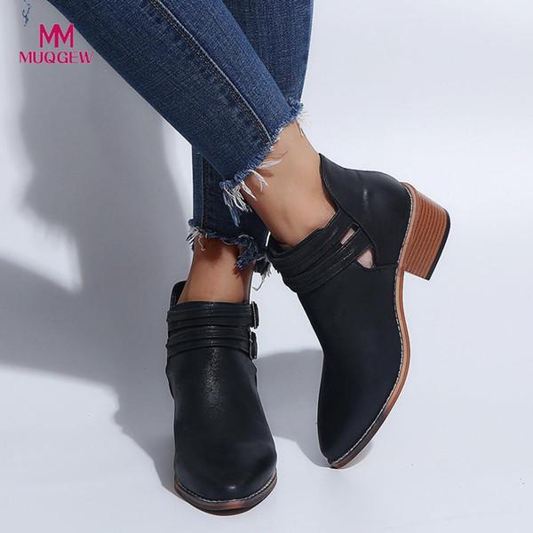 Kadınlar Sonbahar Kış Boots Ponited Burun Ayakkabı Saf Renk Patik Toka Kayış Kare Topuk Tek Ayakkabı Sıcak Açık takozlarla
