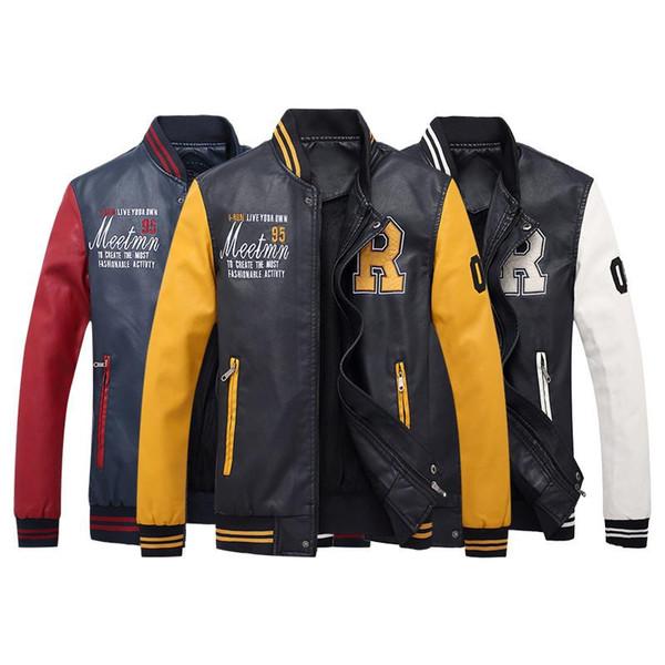 Leather Bomber Jacket Men Autumn Winter Pu Motorcycle Jackets Fleece Warm Baseball Collar Coats Slim Men 'S Military Jackets Size S-4XL