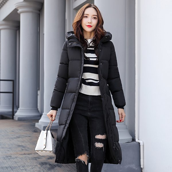 20198 new winter down cotton jacket women's long slim hooded padded coat jacket over the knee coat