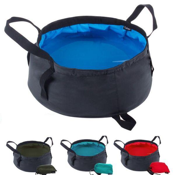 top popular Portable Folding Washbasin Outdoor Travel use Water Bag Pot Water bucket For Camping Hiking Bath Supplies 4colors AA666 20pcs 2019
