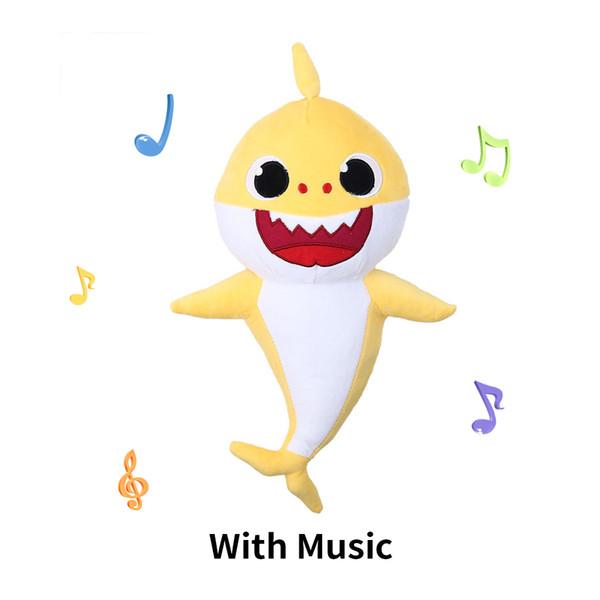 Weiche Puppen Baby Cartoon Shark Spielzeug Mit Musik Niedlichen Tier Fox Gefüllte Plüsch Baby Spielzeug Shark Dolls Für Geschenk Kinder Mädchen