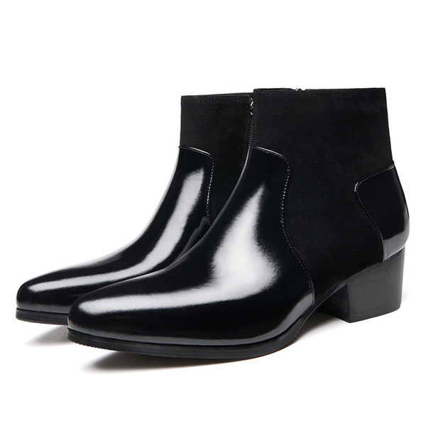 Patent Leather High Heels Boots Man Pointed Toe Winter Ankle Boots Men Wedding Heighten Shoes Hight End