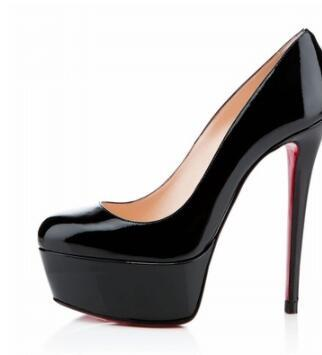Scarpe da scarpe con plateau tacco alto e tacco alto marca rossa Scarpe con tacco a spillo in pelle verniciata nera nuda scarpe da donna con plateau 34-44 c0
