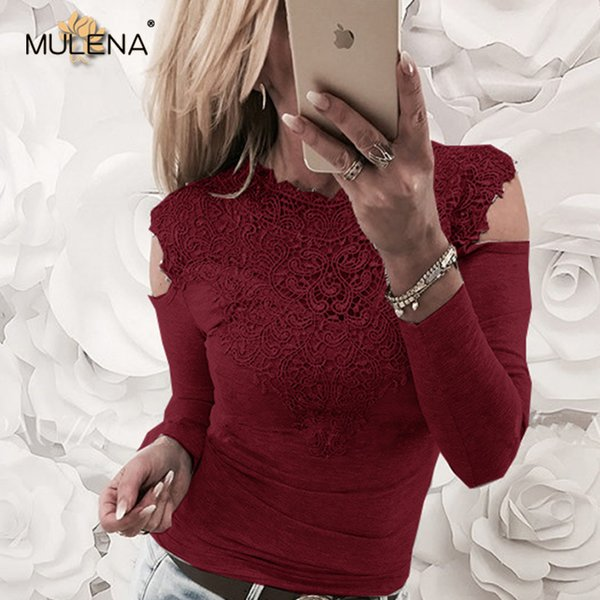 Sexy Lace Patchwork Hollow Out Shirt Women Elegant O Neck Exposed Shoulder Long Sleeves Office Lady T Shirts New Fashion Spring