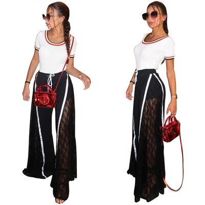 Free Ship 2019 Women Fashion Lace Panelled Wide Leg Pants Female Casual High Slit Loose Trousers