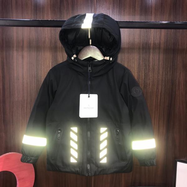 Crianças jaqueta crianças inverno roupas de grife modelos entre pais e filhos meninos e meninas reflexivo tira jaqueta casaco de tecido de poliéster