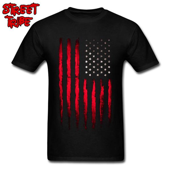 Cowboy USA Flagge T-shirt Männer Gestreiftes T-shirt Rot Tops Jungs Baumwolle Shirts Amerika Flagge Drucken Kleidung Team Punk Tees Großhandel