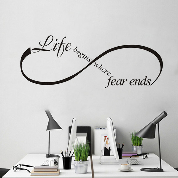 "1 Pcs ""Life Begins Where Fear Ends Art Design Vinyl Lettering Quotes Bedroom Wall Sticker Removable Modern Design Decor Home Decal Art"