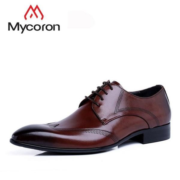 MYCORON 2019 Hommes Bottes Italien Style Top En Cuir Pour Hommes Produit De Luxe Oxford Chaussures À Lacets Chaussures De Mariage Formel Herren Schuhe