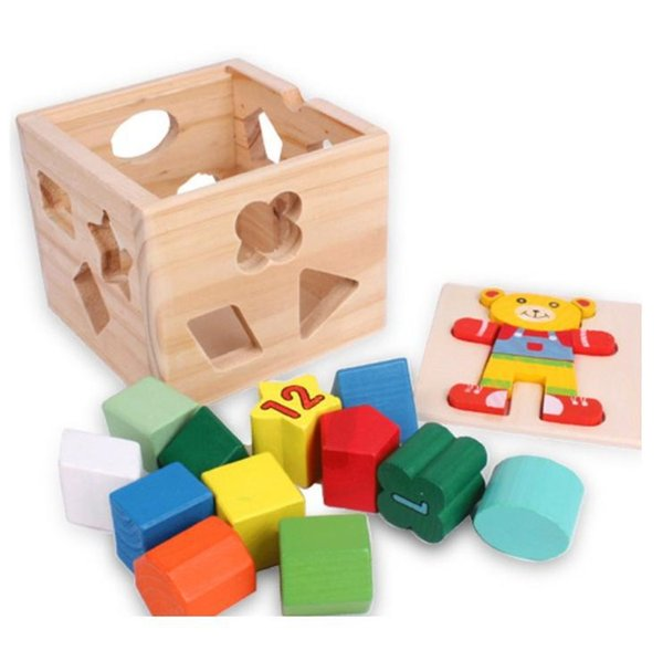 13 chunky shapes Bear Shape Sorting Cube Educational Understanding color shape digital Wooden Geometric Building blocks baby toy