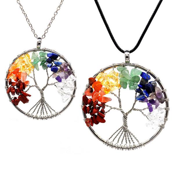 12pcs / ensemble arbre de vie collier 7 chakra pierre perles améthyste naturel Sterling-silver-bijoux chaîne Choker pendentif colliers pour femmes cadeau