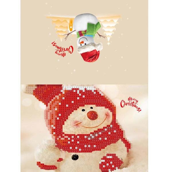 Año Nuevo 2019 Diamante Pintura de Dibujos Animados Mini Papá Noel Feliz Navidad Papel Artesanía Postales regalos Decoración Noel Cristmas