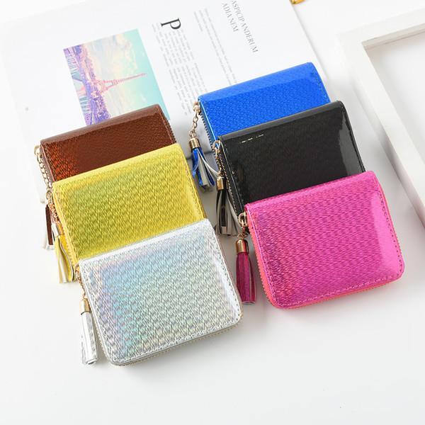 6 arten Laser Quaste Kurze Brieftasche Frauen Mädchen Hologramm Kleine Geldbörse Zip Kreditkarteninhaber Clutch Wallet FFA2006