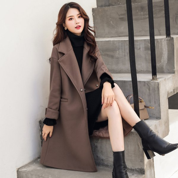 Fitaylor Outono Inverno mulheres lã Coats OL Casual Jackets manga comprida Blazer Exteriores Feminino elegante de lã Double Breasted SH190928 Brasão
