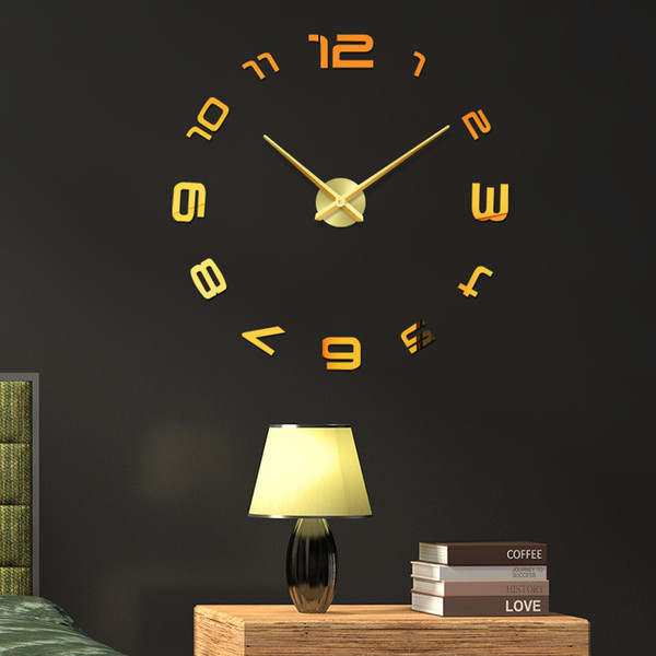 New 48 inches Wall Clock Design Large Acrylic Mirror Clocks Stickers Living room accessories Decorative House Clock On The Wall