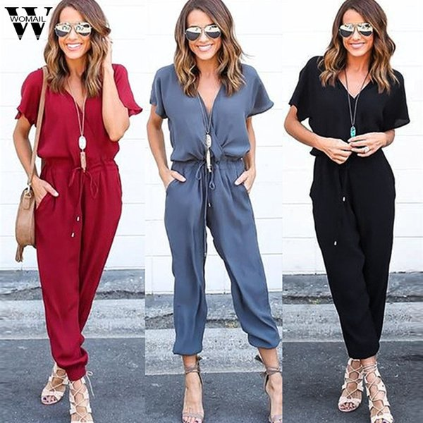 Body Womail Donna Summer Casual Chiffon Manica corta Clubwear Playsuit Bodycon Party Jumpsuit Pagliaccetto fashion2019 M1