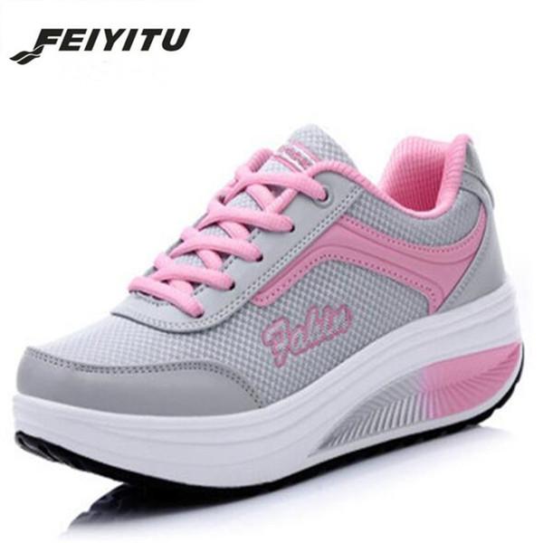 Designer Dress Shoes FeiYiTu 2019 Spring Autumn Breathable Mesh Platform Women Sneakers Walking Casual Ladies Wedge Female EU 35-40