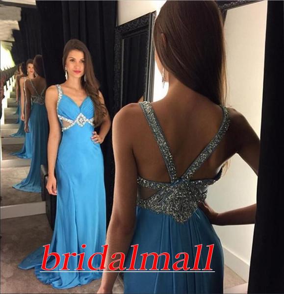 Сексуальное вечернее платье из бисера с кристаллами и бусами 2019 Вечернее платье со складками и шифоном Платье для выпускного вечера