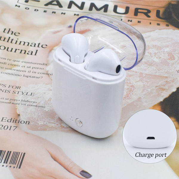 i7s TWS Bluetooth Earphone Headphones V4.2 Mini Headset Mic Wireless Stereo HIFI Earbuds with Charging Box for iPhone Android Huawei