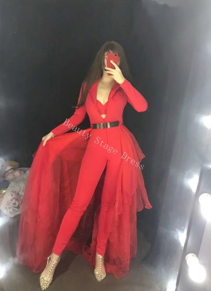 2019 Long Sleeves Red Jumpsuit Women Birthday Clothes DS Dance Bodysuit Bra Mesh Tail Outfit Nightclub Singer Stage Show Outfit Stage Wear