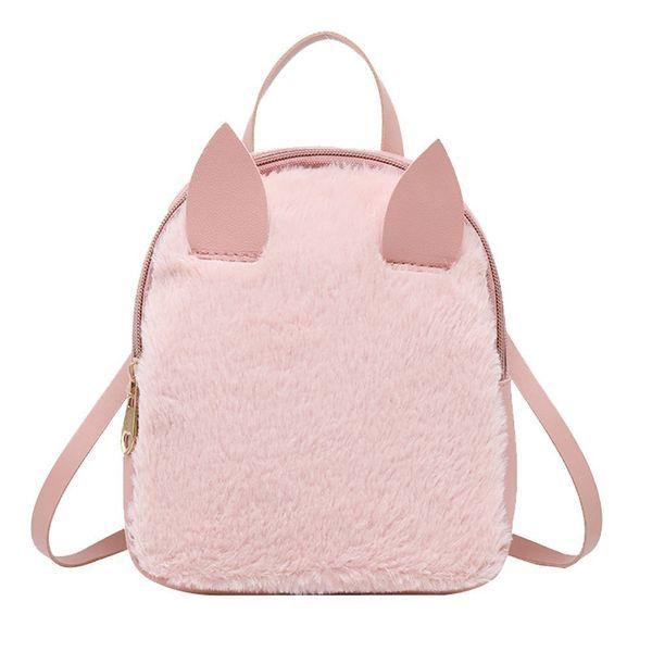 Women Cute Rabbit Hair Backpack Student Horn Shoulder Bag Mobile Phone Purse Shell Type Travel Bags For Women Girls