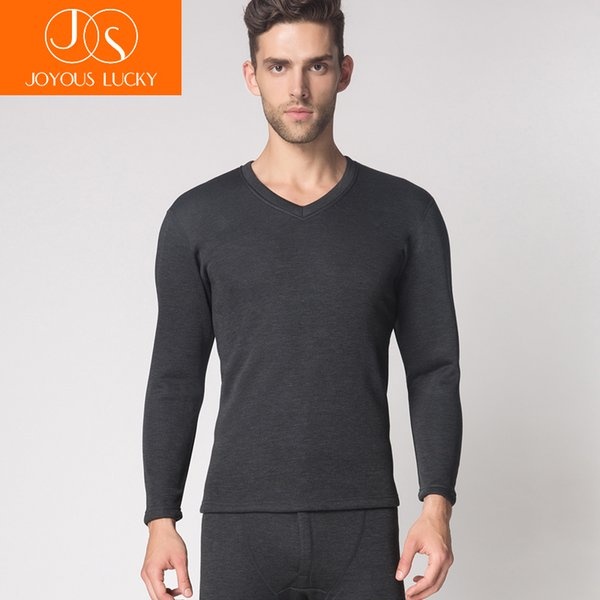 JOYOUS LUCKY Men's Thick Long Johns Set Male Warm Winter Underwear Quality Sweaters Suit O-Neck V-Neck Soft Solid Plus Size