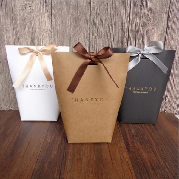 5 Pcs Noir Blanc Merci Emballage cadeau bonbons sac de papier Kraft de mariage boîte-cadeau Sacs Cookie Emballage Fournitures