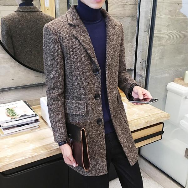 Herbst-Winter-langer Graben Männer Slim Mode Wollmantel Jacke Herren-Anzug Kragen der neuen beiläufigen Trench Wollmantel Größe M-2XL MX191214