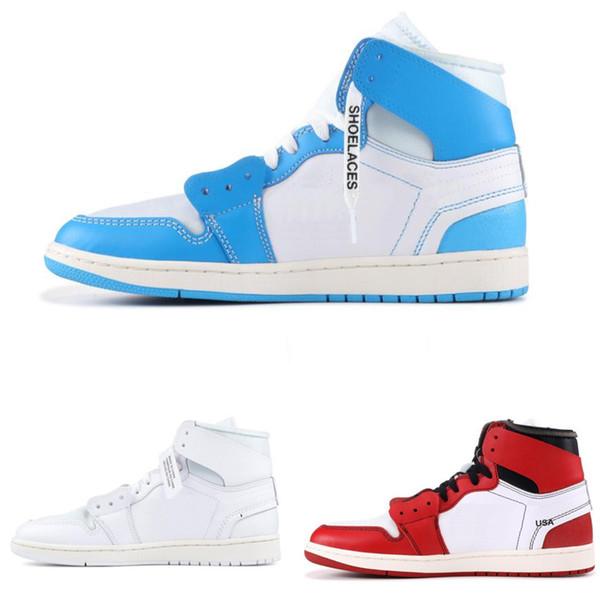 Chaussures de basket-ball pour hommes, signées conjointement et signées High OG 1S, UNC 1 Poder, bleu, blanc, rouge, baskets, Caroline du Nord, femmes formateurs avec boîte