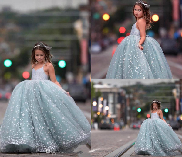 Little Girl's Ball Gown Tulle Dresses Spaghetti Light Blue Dress with Stars Tiered Ruffle Girl's Pageant Dresses Kids Formal Wear