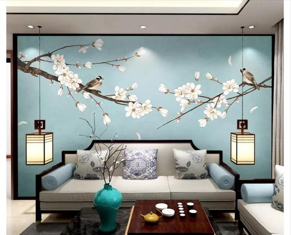 3d papier peint personnalisé photo papier peint en soie murale Nouveau chinois Magnolia stylo à fleurs et oiseaux fond décoration murale peinture