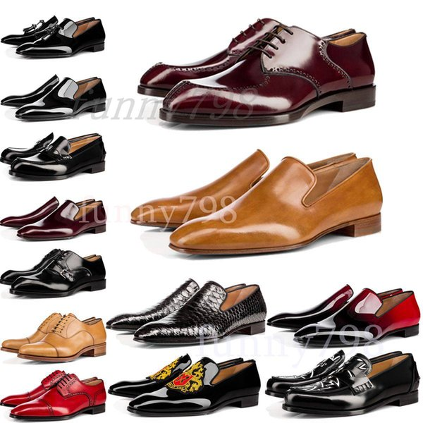 best selling [with box] 2019 Red Bottoms luxury designer brand chaussures mens dress formal shoes Genuine Leather men Red Bottom Designers Shoes