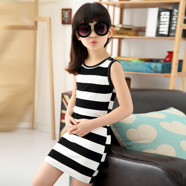 Children Girls Clothing Black And White Stripes Summer Girl Dress 100% Cotton 3-14 Years Kids Vest Dresses For Teenage Girls
