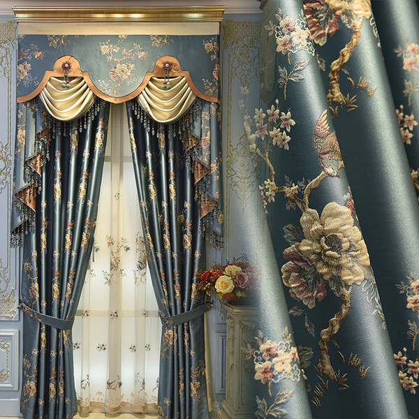 top popular European Curtains for Window Curtains Styles for Living Room Elegant Drapes European Embroidered 2021