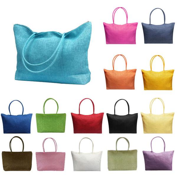 Einfache Vintage Designer Candy Farbe Große Kapazität Stroh Strandtaschen Frauen Casual Gemütlich Umhängetasche MMA1732