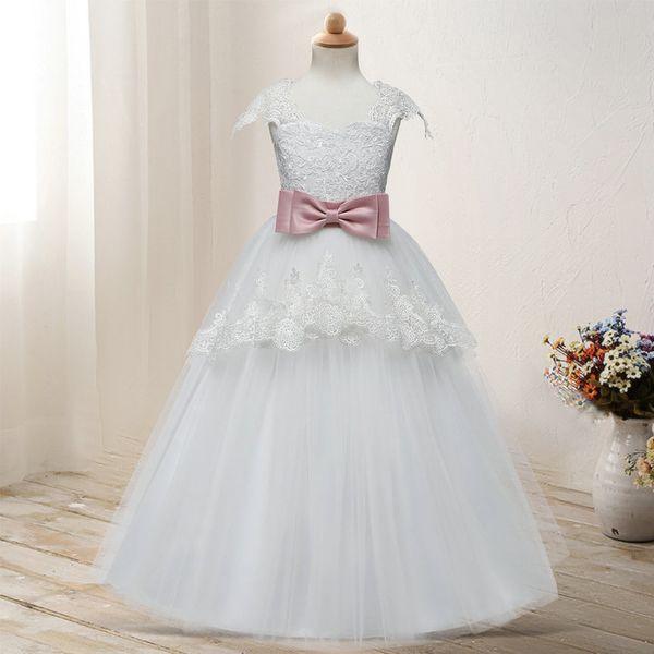 1 Adet Kız çiçek işlemeli bel yay dantel tutu gelinlik kız bebek elbiseleri Balo Parti Elbise pileli elbise çocuk giyim