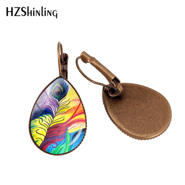 2019 New Peacock Feather Ear Clip Art Painting Earring Clips Glass Dome Jewelry Hand Craft Girl's ear clip