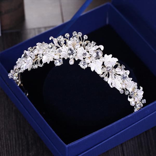 Барокко старинные золотой горный хрусталь жемчужина цветок свадебные короны ручной работы тиара оголовье Кристалл диадема корона свадебные аксессуары для волос D19011005