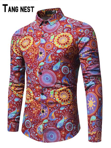 TANGNEST 2019 nouveau printemps hommes couleur mode chemise à manches longues chemise coréenne chemise jeunesse tendance revers MCL2077