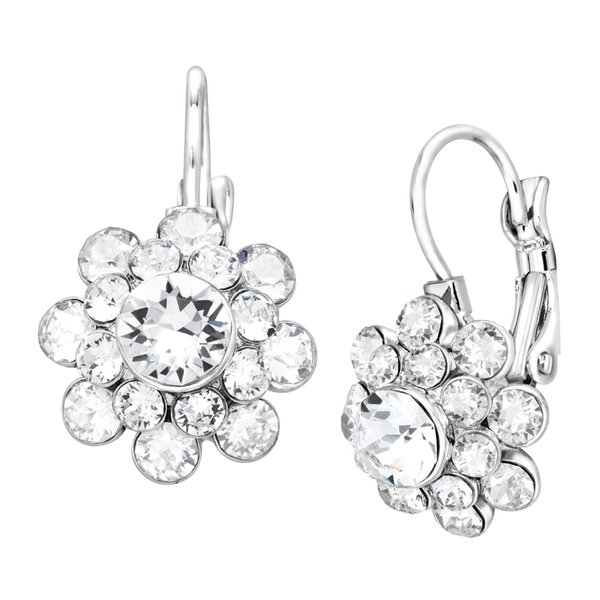 Crystaluxe Circle Stud Earrings with White Swarovski Crystals in Sterling Silver
